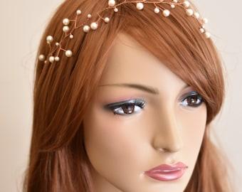 Hair vine, hair vine wedding, hair vine bridal, pearl headband, pearl headpiece, pearl hairpiece, bridal hair vine, bridal headband