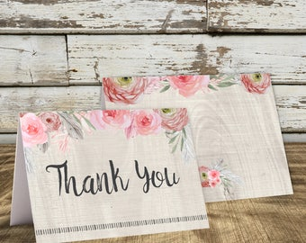 Bohemian Thank You Card, Baby Shower Thank You, Boho, Folded Thank You, Rustic, Floral, Bridal Shower Thank You, Folded Thank You, Baby Girl