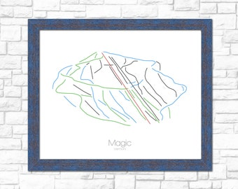 Magic Vermont VT Map Ski Snowboard Trail Map Art --- Print, Poster, Picture --- Frame, Gift, Present --- Resort, Mountain, Snow, Winter
