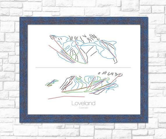 Loveland ski area colorado co ski snowboard trail map art for T shirt printing loveland co