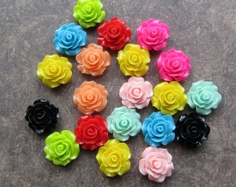 20 Resin Rose Cabochons, Flower, Flat Back, 20mm Mixed Colours in pairs