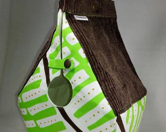 RESERVED Birdhouse shaped project bag for knitting or crochet