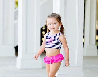 Monogrammed Girls Bathing Suit, Two Piece Swim Suit