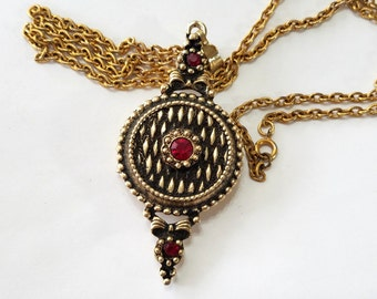 Vintage, Estate, Rhinestone, Perfume, Locket, Ruby, Red, Necklace, Chain, Focal, Jewelry, Beading, Supply, Supplies