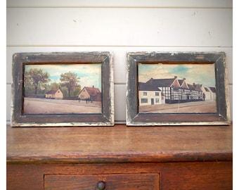 Pair of Primitive Oil Paintings of Street Scene, Rustic Decor