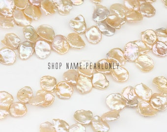 13-15mm Large pink color keshi pearl strands,side drill  baroque pearl strand,china freshwater reborn pearl strands,top side drilled hole,