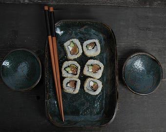 Gift form him, Sushi Set, Rustic Sushi Set, Serving Ceramic Sushi Dishes, Serving Sushi Plate, lace sushi dish