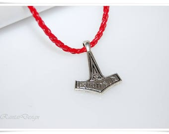Leather jewellery necklace THOR necklace for men mens jewelry Red