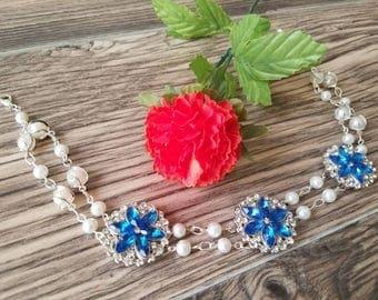 Blue Wedding Choker, Blue Flower Formal Choker, Blue Jewelled Choker, Jewelled Formal Choker, Blue Bridal Choker, Formal Flower Choker