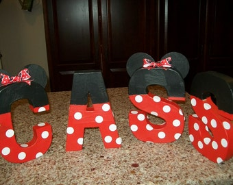 """Minnie Mouse Inspired 8"""" Paper Mache Letters Made to Order"""