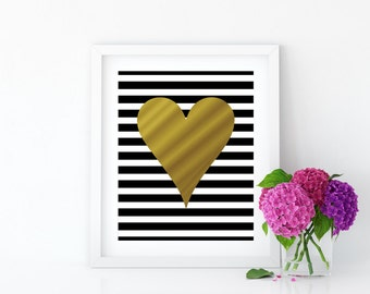 Art Prints, Home Decor, Gift for Her, Gold Foil Heart with Black and White Stripes Home Wall Decor