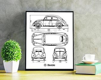 """VW Beetle Blueprint, Volkswagen Beetle, Original Beetle, VW Beetle Decor, Blueprints, Instant Download, VW Beetle Poster, 5x7, 8x10"""", 11x14"""""""