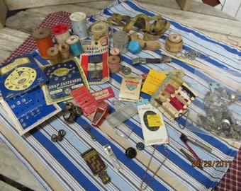 Nice Vintage Assortment Lot of Junk Drawer Sewing Notions Thread Spools Tape Measures Sewing Kits Odds & Ends Steampunk Salvage