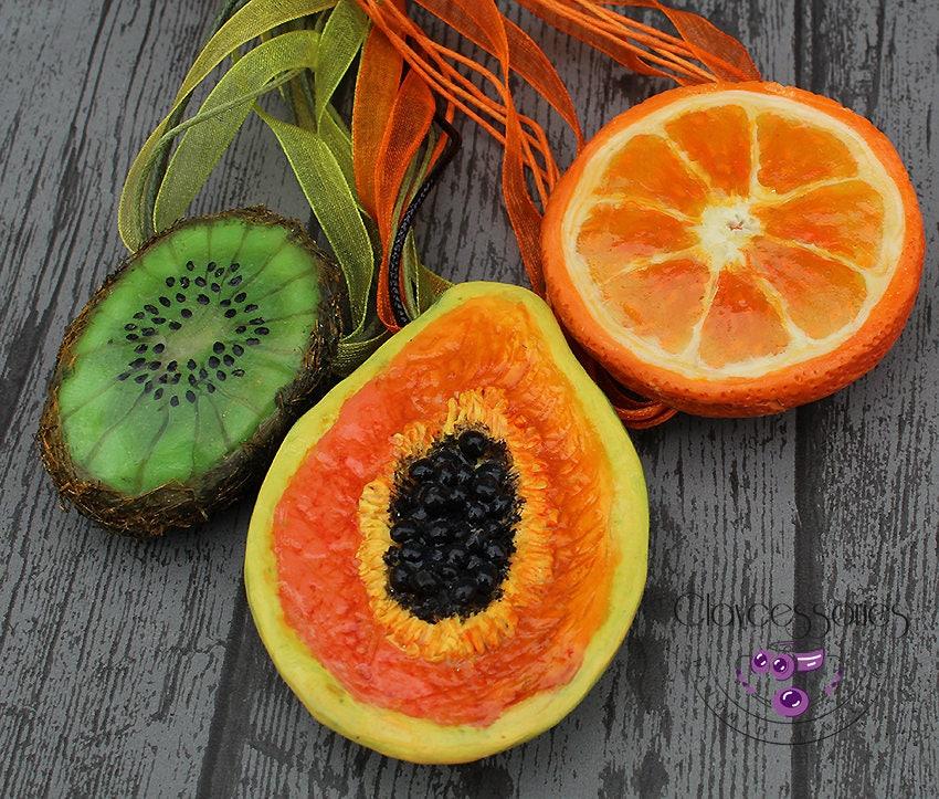 Fruits necklace / Kiwi pendant / Papaya pendant  / Orange pendant / Summer pendants / food necklace / Polymer clay pendants