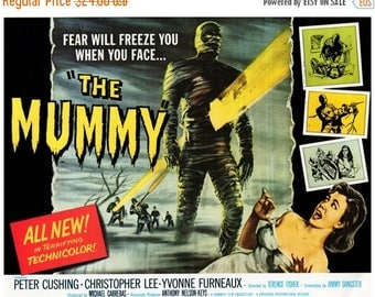 """50% Off Estate Sale Vintage Horror Science Fiction Movie Poster Print, 1959, The Mummy, PMSF 11"""" x 14"""""""