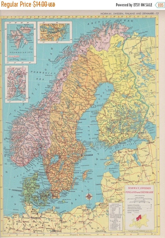 Off Estate Sale Vintage Map Art Norway Sweden Finland - Norway to usa map