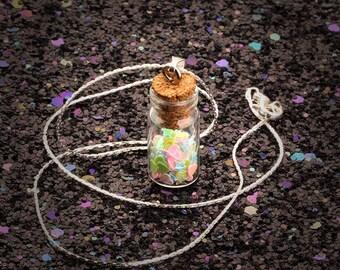 Girls Wishing Fairy Dust Jar Bottle Pendant Necklace - Hearts & Stars
