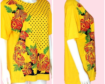Vintage Yellow Blouse Polka Dot Top with Pink Floral Print Size Large- XL