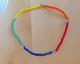 Tiny FLOWER ANKLET colorful anklet rainbow anklet daisy ankle bracelet beaded anklet stretch ankle bracelet