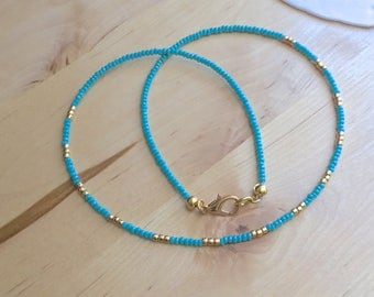 SKINNY NECKLACE beachy necklace turquoise beads 24k gold beads resort necklace resort jewelry beachy necklace beachy jewelry blue choker