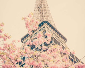Paris Photography, Cherry Blossoms at the Eiffel Tower, Spring in Paris, Travel Fine Art Photograph, Large Wall Art, Gallery Wall