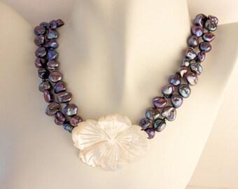 Keishi Pearl Plumeria Necklace, Keishi Pearl Frangipani Necklace, Hawaiian Plumeria Pearl Necklace, Beach Wedding Pearl Plumeria Necklace