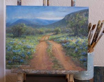 Texas Hill Country Bluebonnets Wildflowers Springtime Fine Art Print by Fredericksburg Tx artist KWeigand, Willow City Loop