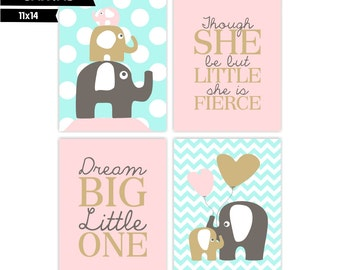 Girl Nursery canvas wall art prints,  Elephants, Dream Big Little One, Little Fierce Set of 4 (S111420104)