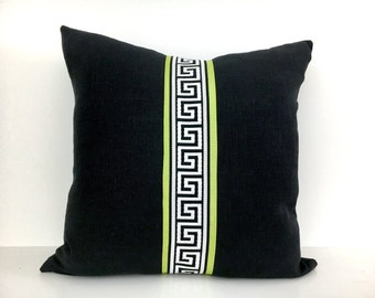 Black Linen Pillow Cover with Green Ribbon and Black Greek Key Trim