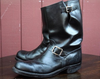 50s / 60s Generic Black Leather Engineer Boots Size 10