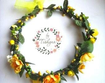 Valintine's day Boho wedding yellow flower crown bride baby wreath newborn headband headpiece woodland Flower girl bridesmaide bridal ivory