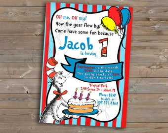 Dr. Seuss, Cat in The Hat Birthday Invitation and Thank You Card, printable, customizable, Digital File or Printed Options
