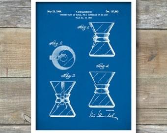 Chemex Coffee Pot, Patent Poster, Chemex Coffee Pot Art, 1944, Coffee Pot Patent, Coffee Pot Print, Coffee Pot Wall Art, P466
