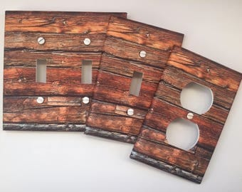 Rustic wood light switch plate Farm Wood Planks brown image 71 // SAME DAY SHIPPING**