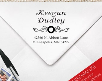 Square Swirl and Curley Monogram Stamp, Square Return Address Stamp, Realtor Closing Gift, Housewarming Gift | MS-S13