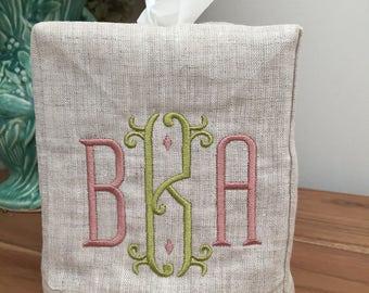 Monogrammed Linen Tissue Box Cover-Vienna Monogram, monogrammed gift-personalized gift-hostess gift