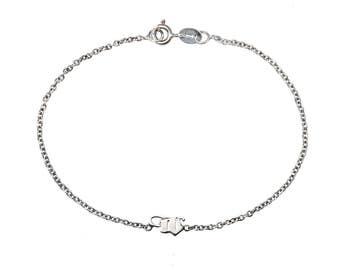 MINI W LOGO  BRACELET - Tiny Skull Bracelet Sterling Silver Fashion Jewelry. Logo. Fine Jewelry. Ginkgo, Cross Relic Skulls Gothic Unisex