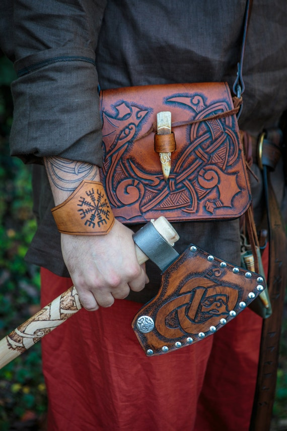 One of a king norse viking knotwork dragon satchel with antler tip toggle and hand forged rings