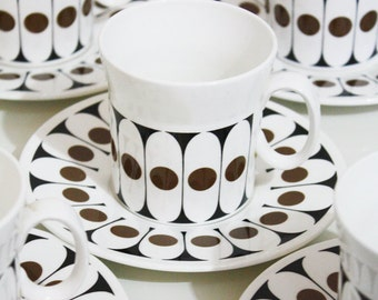 HT Hostess Tableware, Black Velvet, Coffee Cups & Saucers by John Russell, Fine Bone China