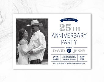 25th Wedding Anniversary Invitation, 50th Anniversary Party Invites - Vow renewal invitation - ANN01 Silver & Navy