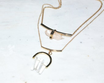 Quartz Crystal Geometric Bar Gold Necklace