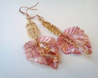 Lucite Earrings, Hand Painted Earrings, Hand Crafted Earrings, Lucite Leaf Earrings, Mauve Earrings, Dusty Rose Earrings, Vintage Style Leaf