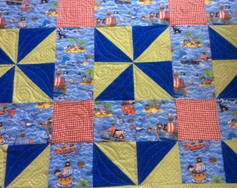 Handmade quilt. Cute pirates baby quilt. Free postage/shipping