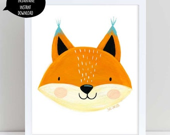 Fox, fox head, fox illustration, fox art, fox wall art, fox nursery art, fox room decor, fox printable, cute fox illustration, cute fox