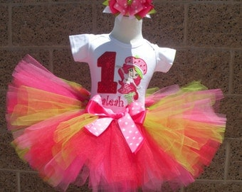 Strawberry Shortcake Red Sequin  Number Tutu -Personalized Birthday Tutu,Sizes 6m - 14/16