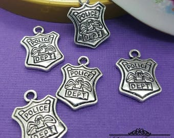 Police Charms, 5 pcs, Law Enforcement Charms, Badge Charm, Police Charms, Police Badge charms, Thin Blue Line, shield CHARMS CTPD05