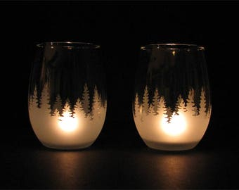 Pines,forest tea candle holder or wine glass set of two.