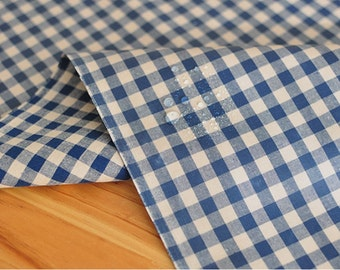 Laminated Cotton Fabric 1 cm Navy Plaid By The Yard