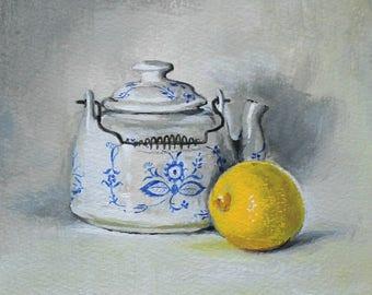 Original Acrylic Gouache Still Life Painting • Kitchen Art •Teapot • Yellow Lemon