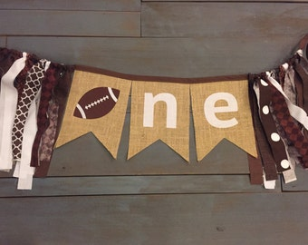 ONE Football Brown & White Highchair Burlap Bunting Banner for Boy Rustic First Birthday Party Decoration, or Photo Prop